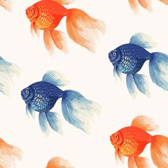 Panel Szklany Podświetlane Do restauracji Vector seamless pattern with high detail goldfish