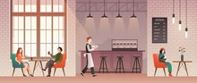 People In Coffee Shop. Friends Meet And Drink Coffee And Relax In Coffeehouse. Guys Talk With Happy Barista. Flat Vector Illustration