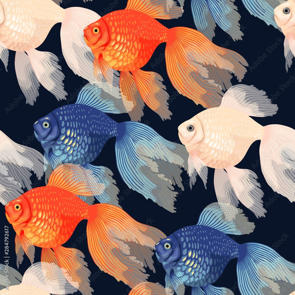 Fototapety, obrazy: Vector seamless pattern with high detail goldfish