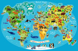 Fototapeta Fototapety na ścianę do pokoju dziecięcego - Animal Map of the World for Children and Kids. Vector.