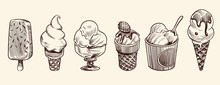 Ice Cream Dessert. Hand Drawn Black Engraved Vintage Sweet Delicious In Bowl For Restaurant Isolated Sketch Vector Set