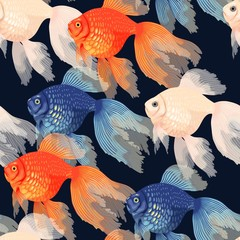 Panel Szklany Zwierzęta Vector seamless pattern with high detail goldfish