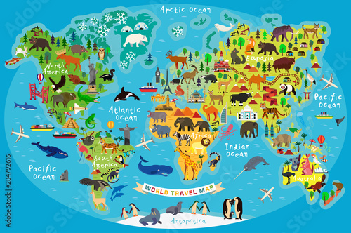 mata magnetyczna Animal Map of the World for Children and Kids. Vector.