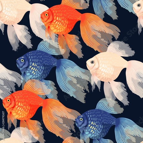 fototapeta na szkło Vector seamless pattern with high detail goldfish