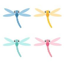Dragonfly Icon Set. Cute Carto...