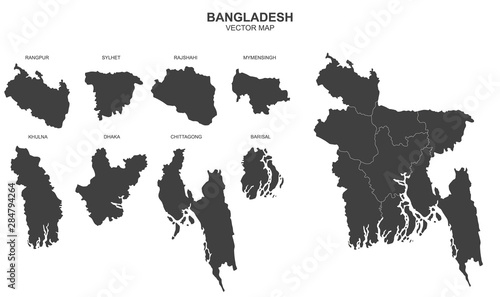 Foto map of Bangladeshon on white background