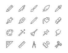 Drawing Tools Flat Line Icons Set. Pen, Pencil, Paintbrush, Dropper, Stamp, Smudge, Paint Bucket, Vector Illustrations. Outline Minimal Signs For Web Interface. Pixel Perfect 64x64. Editable Strokes