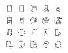 Phone Flat Line Icons Set. Smartphone, Landline Telephone, Portable Device, Walkie Talkie, Broken Display Vector Illustrations. Outline Signs Technology Store. Pixel Perfect 64x64. Editable Strokes