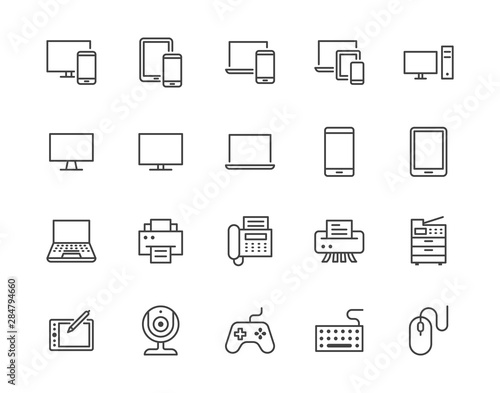 Devices flat line icons set Fototapete