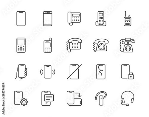 Obraz Phone flat line icons set. Smartphone, landline telephone, portable device, walkie talkie, broken display vector illustrations. Outline signs technology store. Pixel perfect 64x64. Editable Strokes - fototapety do salonu