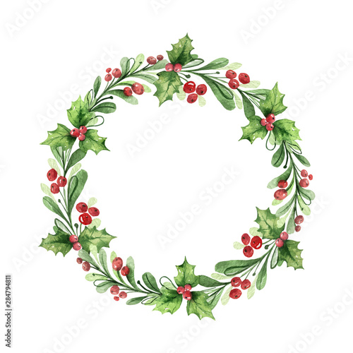 Fotografiet Watercolor vector Christmas wreath with green branches and red berries