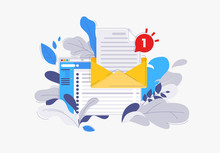 Vector Illustration Of A Mail Client In The Browser, The Icon Of The Envelope With An Attached Text Document, The Concept Of E-mail, In The Flower Leaves