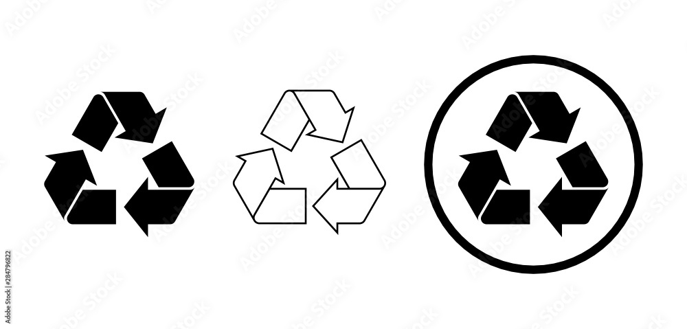 Fototapeta Set of three black recycle signs on white background. Different black recycle icons with full color, outline, and encircled. Variations of black recycle symbol. Vector illustration, flat, clip art.