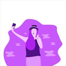 Girl Taking Selfie In Flat Illustration. Girl Hold Smartphone