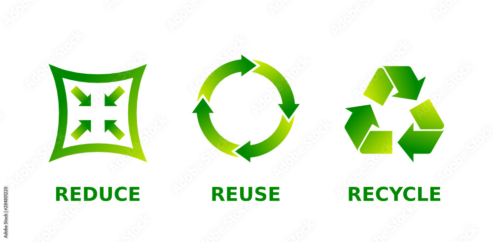 Fototapeta Reduce, reuse, recycle sign set. Three different green gradient recycle, reduce, reuse icons. Ecology, sustainability, conscious consumerism, renew, concept. Vector illustration, flat style, clip art.