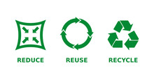 Reduce, Reuse, Recycle Icon Set. Ecology, Zero Waste, Sustainability, Conscious Consumerism, Renew, Concept. Three Different Green Recycle, Reduce, Reuse Signs. Vector Illustration,flat Style,clip Art