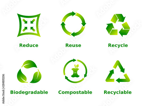 Obraz Reduce, reuse, recycle, biodegradable, compostable, recyclable, icon set. Six recycle green gradient signs on white background. Zero waste,ecofriendly,concept. Vector illustration,flat style,clip art. - fototapety do salonu