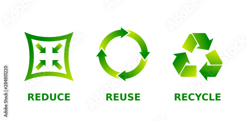 Obraz Reduce, reuse, recycle sign set. Three different green gradient recycle, reduce, reuse icons. Ecology, sustainability, conscious consumerism, renew, concept. Vector illustration, flat style, clip art. - fototapety do salonu