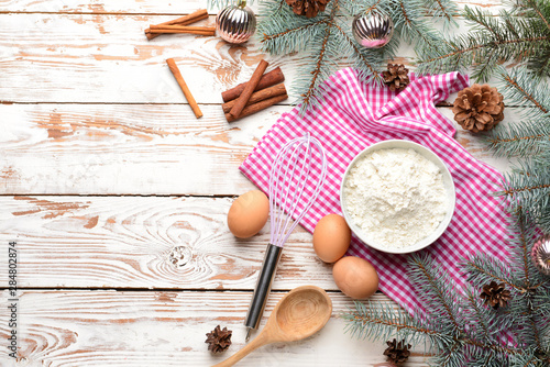 White Christmas Pie.Ingredients For Christmas Pie And Decor On White Wooden