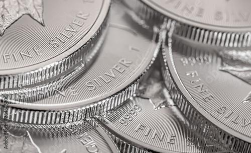 Fototapeta Macro Close up of a Silver Canadian Maple Leaf Bullion Coin obraz