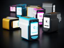 Generic Inkjet Printer CMYK Cartridges. 3D Illustration