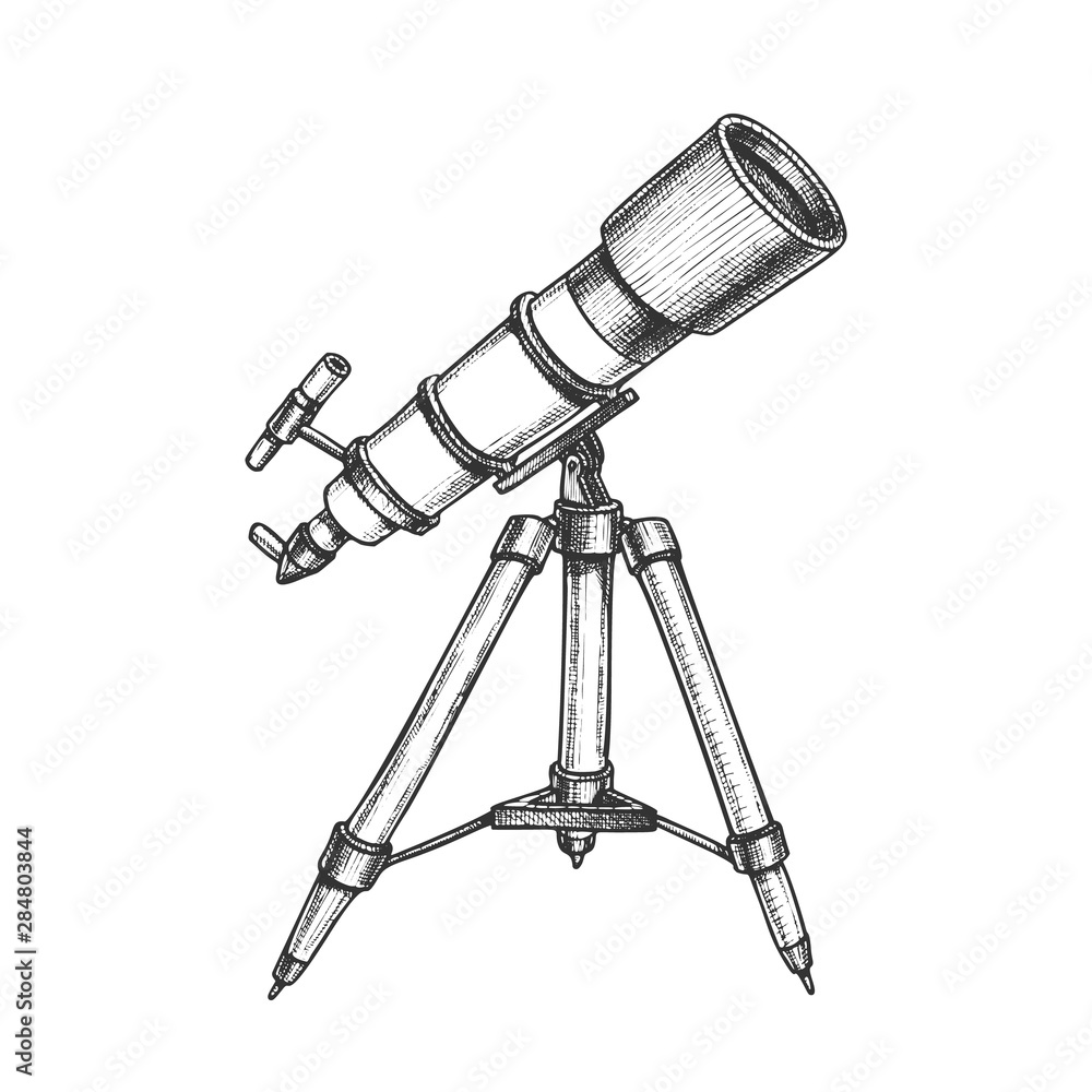 Fototapety, obrazy: Astronomer Equipment Telescope Monochrome Vector. Standing Telescope For Explore And Observe Galaxy And Cosmos. Discovery Optical Device Designed In Retro Style Black And White Illustration