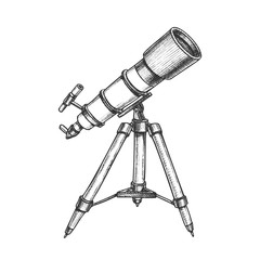 Astronomer Equipment Telescope Monochrome Vector. Standing Telescope For Explore And Observe Galaxy And Cosmos. Discovery Optical Device Designed In Retro Style Black And White Illustration
