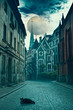 canvas print picture - mystical Riga, black cat on the streets of the ancient city of the middle ages, on the full moon. fairytale landscape.