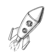 Space Exploring Launch Rocket Monochrome Vector. Flying Astronautic Transport Rocket For Explore Cosmos. Spaceship Galaxy Science Technology Designed In Retro Style Black And White Illustration