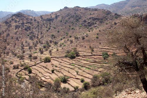 Dry terraced landscape in the Morrocan mountains. Fototapeta