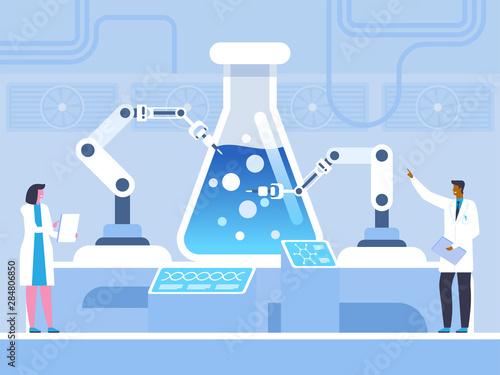 Carta da parati Biochemical experiment flat vector illustration