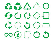 Big Recycle Sign Set. Green Recycle Icon Set On White Background. 20 Different Recycling Symbols. Eco Friendly, Zero Waste, Concept. Nature Cycle Arrows Set. Vector Illustration,flat Style, Clip Art.