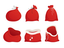 Set Red Sacks Of Santa. Tied Up And Empty. Vector Illustration. Isolated On White Background