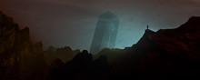 Traveler Looking At Distant Tower In Surreal Alien Landscape, Science Fiction 3d Illustration