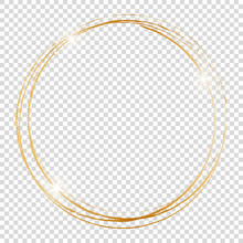 Gold Round Frame On Transparen...