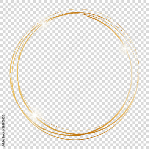 gold round frame on transparent background Canvas Print
