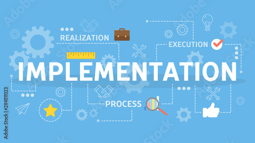 Photo Implement idea into business process. Strategy and development