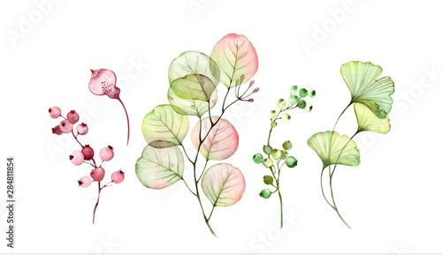 Foto Watercolor Transparent floral set