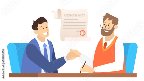Two people shake hands as a result of agreement.