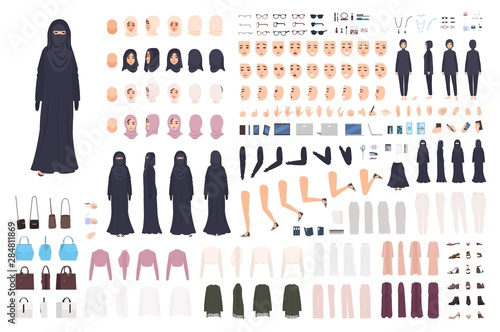 Photo Young Arab woman in burqa constructor set or animation kit
