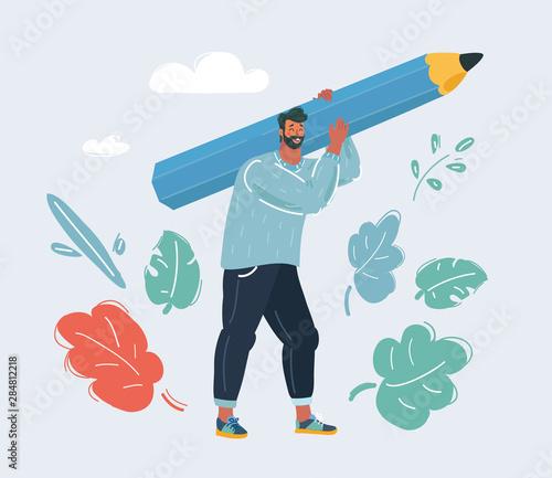 Obraz na plátně Man hold big pencil.