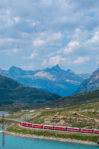 Fotobehang Spoorlijn Bernina Pass Swiss Alps Alps and Swiss Mountains
