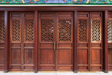 Details Of Historical Wooden Door Of Chinese Architecture