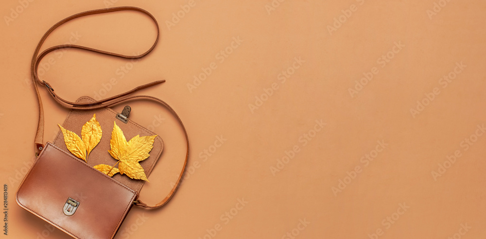Fototapety, obrazy: Brown leather women bag and golden autumn leaf on brown background top view flat lay copy space. Fashionable women's accessories. Autumn Fashion Concept. Stylish Lady Clothes, fall Leaves