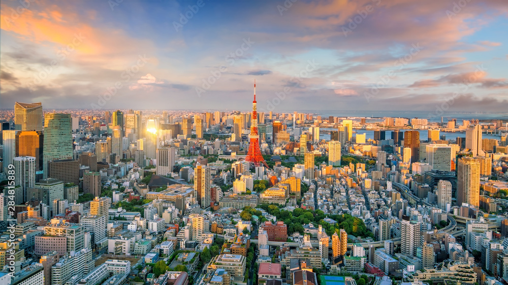 Fototapety, obrazy: Panorama view of Tokyo city skyline and Tokyo Tower building in Japan