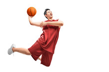 Asian Man Basketball Player Jump In The Air With The Ball