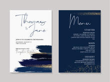 Wedding Navy Grunge Splash Invitation Cards With Luxury Gold And Indigo Marble Texture Background. Abstract Ocean Style Vector Design Template