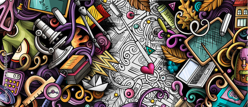 Cartoon cute colorful hand drawn doodles School background