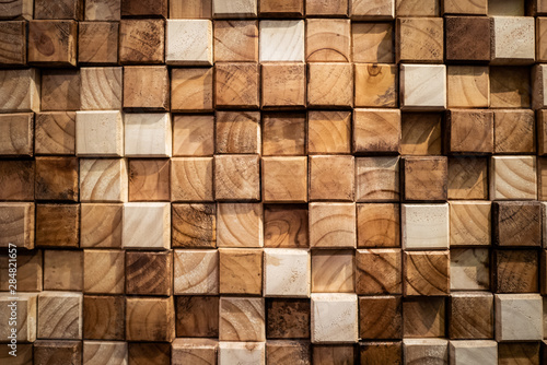 Obraz Wooden square blocks wall texture background - fototapety do salonu