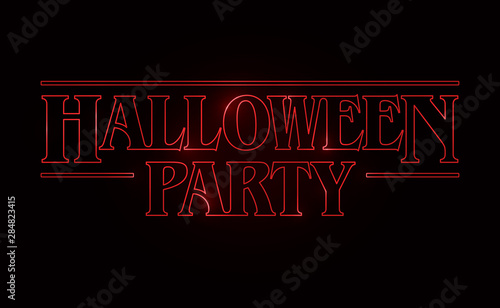 Fotografia Halloween Party text design, Halloween word with Red glow text on black background